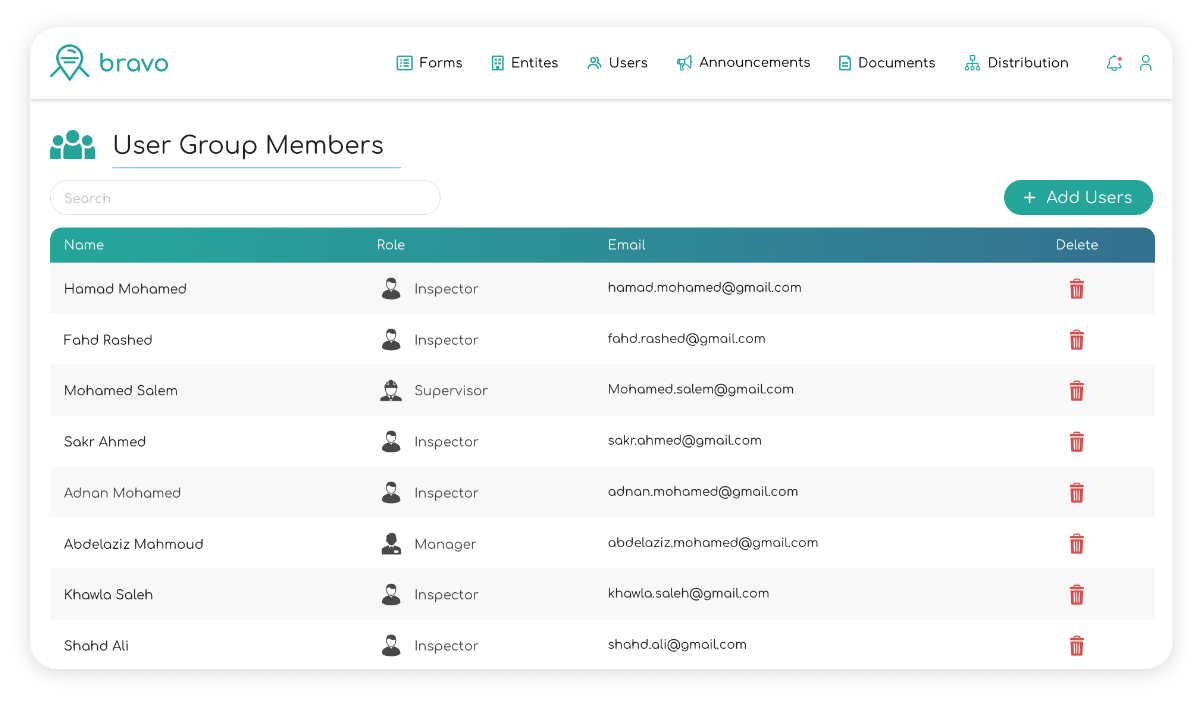 a screenshot showing our field service management system with different user group members